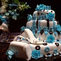 Quinceanera fondant covered cake, sugar shoe, purse is a cake
