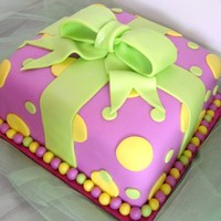Birthday Present fondant covered cake