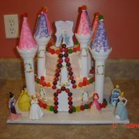 Trista's 5Th Birthday Strawberry cake with strawberry cream cheese icing. I used the wilton castle kit for this cake.