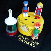 Button Moon Button moon themed cake with handmade edible figures. 100% Edible.