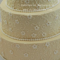 Ivory And White Buttercream icing & piping; fondant pearls & blossoms. Oh, and the photo is crooked, not the cake :).