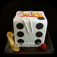 "Guys & Dolls / Dice Made this for a middle school cast party. Cake is 8"" squares stacked & filled to 8"" high. Logo is hand cut from gum paste,..."