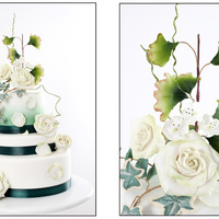 Airbrushed Wdding Cake With Sugar Paste Roses And Leaves   Airbrushed wdding cake with sugar paste roses and leaves