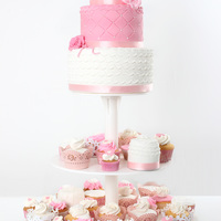 Mini Cakes, Wedding Cake And Cupcakes A pink and white wedding cake, minicakes and cupcakes