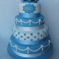 Blue And White Wedding Cake   Blue and white wedding cake.