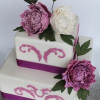 Square Wedding Cake White Purple Peony Rose   For the first time I made peony roses and I really love them :)