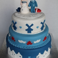 Dutch Wedding Cake Windmill, Houses Clogs   A Dutch weddingcake with a costimized topper.