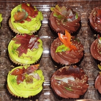 Autumn Cupcakes Vanilla bean butter cuppies with cream cheese buttercream, and chocolate butter cuppies with chocolate buttercream, with fondant leaves and...