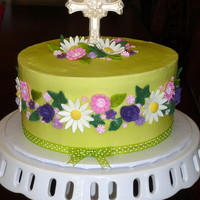 Baptism Cake For Two Teenage Sisters Vanilla almond butter cake with my butter variation of Sharon Zambito's wonderful buttercream, with fondant flowers and a white...