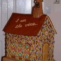 Gingerbread Chapel For A Men's Retreat This was an edible centerpiece for a Christian men's retreat. They tell me it went fast!