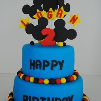 Mickey Mouse Cake 6 and 8 inch cake rounds. Chocolate Cake with Buttercream Filling.