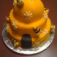 Beehive Cake This is a beehive cake I did. The bees are hand made by me out of fondant. I am really pleased with this cake. I think it is precious.