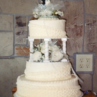 Ivory Basketweave All buttercream with artificial flowers