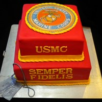 Marine Corps Grooms Cake This cake was made for the groom who is a Marine. Bottom tier was chocolate cake with raspberry filling and top tier was white cake with...