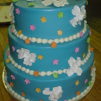 Hawiian Themed Cake  Client wanted an elegant but fun cake for a luau themed surprise party for her daughter's 30th birthday. Her main color was this sky...