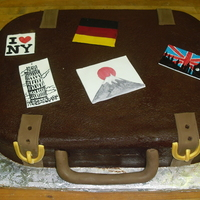 Suitcase Cake  Grooms travels for work and that is how he met his wife in japan. He wanted to incorporate this is his grooms cake. We choose 5 places he...