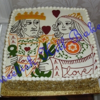 King And Queen Of Hearts   12 inch square carrot cake with cream cheese icing. The image was hand drawn on the cake to look like a postage stamp design