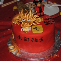 Chinese Theme Cake this is all decorated with fondant, but next time I will do the dragon with 50/50 or all gumpaste