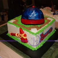 Atlanta Braves Basic white cake with buttercream & MMF covered. The entire cake is edible, with the exception of the hat bill, which is a piece of...