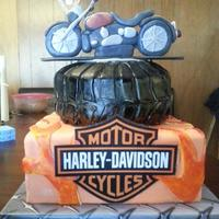 "Harley Groom's Cake *Made for a biker using a photo of his bike to model the motorcycle (made from gumpaste). The base is a 10"" square, chocolate with..."