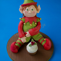 3D Cake; Christmas Elf Vanilla cake covered with sugarpaste