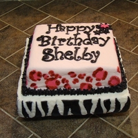 Animal Print Birthday Cake   For my niece. She wanted cheetah & zebra, so this is what we came up with. First time I ever tried to do the cheetah print, lol
