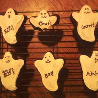 Boo! Brownie ghosts with white icing ( i have a ghost pan i used)One didnt make it thru the night, lol mmmmmmm