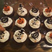 Halloween Rings Red velvet cupcakes with fluffy white icing for a friends costume party. I had a bag of 12 Halloween rings and some black/orange sprinkles...