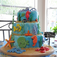 Under The Sea 1St Birthday My nephew's first birthday cake. Bottom and top tiers are Toba Garrett's chocolate fudge cake with cookies and cream filling....