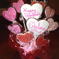 Chelsea's Valentine Cookie Bouquet Chocolate cookies with Toba's glace.