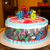 Spiderman Cake Fun edible images ordered from the internet! My sister wanted a Spiderman cake, and that's what she got! Images placed on buttercream...