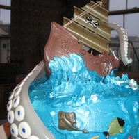 Cakewreck A shipwreck cake for a nautical friend, this poor tiny ship is being pulled down to the murky blue by a giant (gummy) tentacle!