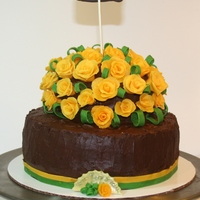 A Cake For A Friend Who Was Recovering From A Surgery Modeling Chocolate Yellow Roses Leaves And Ribbon A cake for a friend who was recovering from a surgery. Modeling chocolate yellow roses, leaves and ribbon.