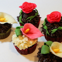 Floral Cupcakes Flowersroses Calla Lillies And Ribbon Are Made Of Modeling Chocolate Floral cupcakes. Flowers(roses, calla lillies and ribbon) are made of modeling chocolate.