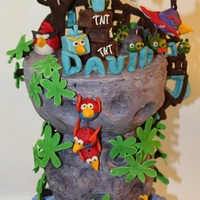 Angry Birds Space Cake That was a cake for my son's 7'th Birthday. Carved 3 tier cake covered in butter cream. All decorations are made of modeling...