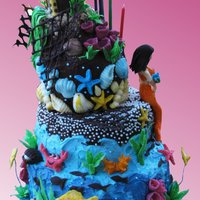 Under The Sea/ Mermaid Cake Mermaid/ Under the sea cake covered in butter cream. All decorations (mermaid, treasure chest, seashells, corrals...) are made of modeling...