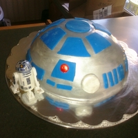 R2D2 Birthday Chocolate cake covered in white fondant, details added with fondant and airbrush. Fun cake to make!