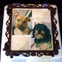Picture Frame Groom's cake. Picture frame is modeling chocolate and pictures of dogs, edible images