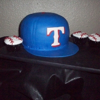 Texas Rangers Baseball Cap - Groom's Cake red velvet, marshmallow fondant over buttercream