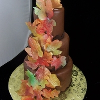 Wafer Paper Fall Leaf Wedding Wafer paper (rice paper) leaves, sprayed with fall colors on chocolate rolled buttercream, 4, 6 and 8""