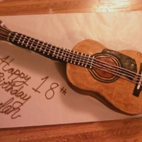 Guitar Birthday Cake this was a surprise birthday cake for a friends son. My daughter and I worked on it and created it from a picture of his guitar. Ameratto...
