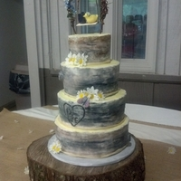 Tree Cake  The wedding took place at a state park and the wedding theme was all rustic- raffia, trees, burlap. The invitation was a had a picture of a...