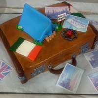 Suitcase Grooms Cake The couple had a long distance relationship so they asked for a cake that showed places of significance.