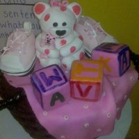 Baby Shower Basket   Bear is made from gumpaste and so are sneaks. Blocks are made from RKT.