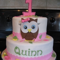 Cute Owl Cake   Strawberry and lemon cake all decorated in MMF. TFL