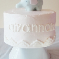 Pink Elephant Simple and cute for my elephant loving little sweetie's first birthday! Carrot cake and pink vanilla buttercream. Elephant is fondant...