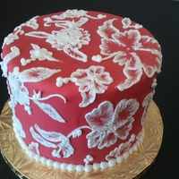 Red And White Brush Embroidery For mom!