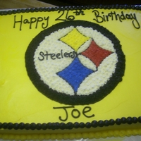 Steelers 11x15 vanilla cake with buttercream frosting and decorations..