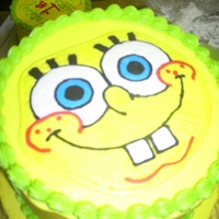 Spongebob This is a 10x8 inch vanilla cake dyed blue on the inside... The dots are made of fondant and spongebob's face is a FBCT... The small...