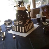 Reception In Black And White  4 tier cake- Lemon with raspberry filling, Red Velvet with cream cheese filling, WASC with bavarian cream filling, Peanut butter with...